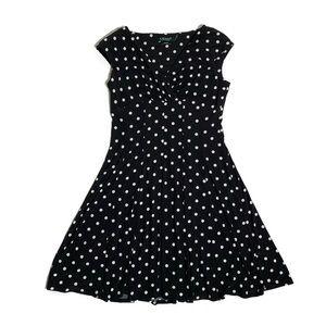 Ralph Lauren polka dot faux wrap front dress